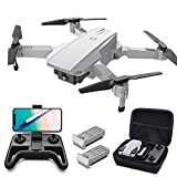 Tomzon D25 Drone with Camera for Adults 4K UHD, FPV Quadcopter Foldable for Beginners with Optical Flow Positioning, Headless Mode, Hand Gesture Photographing, 3D Flips, 2 Batteries with Storage Bag