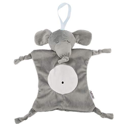 Manta reconfortante para bebé, tela de felpa, toalla para apaciguar, chupete, muñeco de animal de dibujos animados, juguete, seguridad para niños y niñas(Elefante)