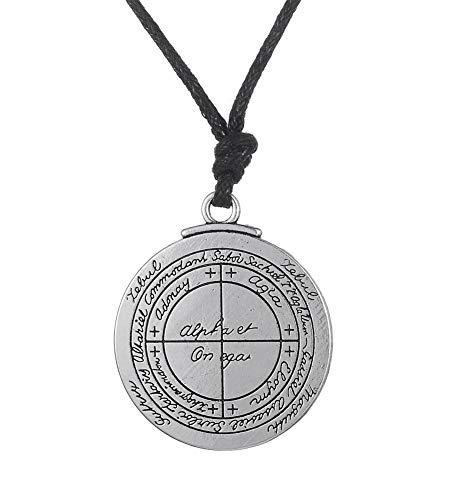 cooltime Collar con colgante de talismán de buena suerte de 2 lados con amuleto de plata antigua para hombres (cadena de cuerda)