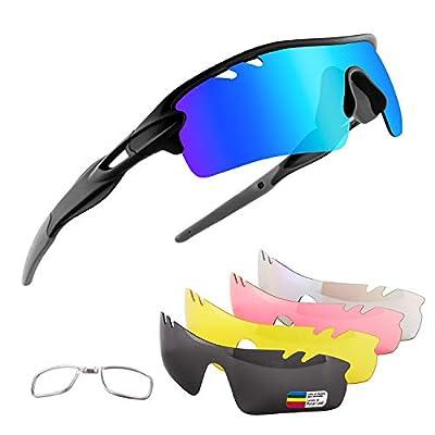 Xiyalai Polarized Sports Sunglasses with 5 Interchangeable Lenses,Mens Womens Cycling Glasses,Baseball Running (Black/Grey-Blue)