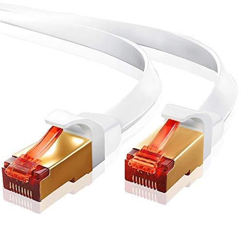 IBRA 7.5M Ethernet Kabel Cat7 Gigabit LAN Netzwerkkabel RJ45 10Gbps 600Mhz/s STP Molded Verlegekabel für Switch,Router,Modem,Patchpannel,Access Point,Patchfelder Flach Weiß