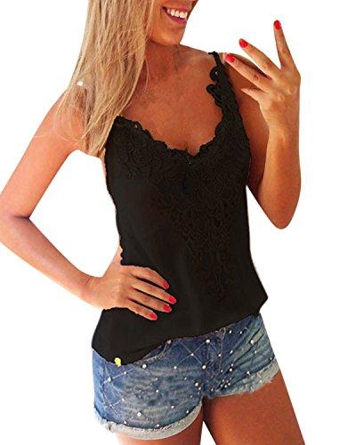 ZANZEA Women's Sexy Sleeveless Lace Croched Tank Tops T Shirt Blouse Camis Vest Black XL=US 12