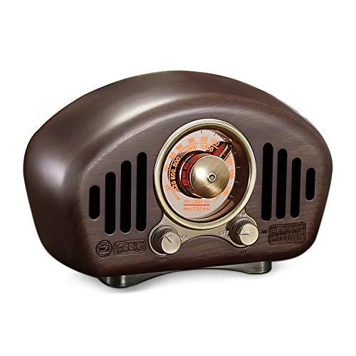 Greadio Vintage Radio Retro Bluetooth Speaker,Walnut Wooden AM FM Radio with Best Reception,Old...