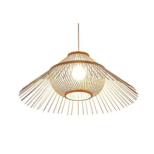 SHUANF Lámpara de araña de bambú natural, estilo del sudeste asiático Lámpara de tejido de bambú Sombras de lámpara de ratán Accesorio de iluminación Pasillo Restaurante Iluminación colgante Lámpara c