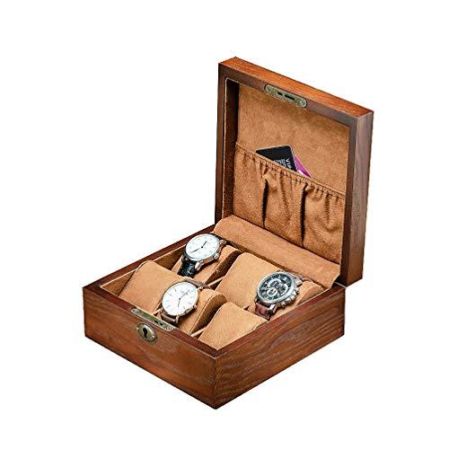 Barm 6 Gitter Uhren Aufbewahrungsbox für Männer, Holzschmuck Uhr Organizer mit Schloss Armband Armreif Vitrine Elegantes Geschenk