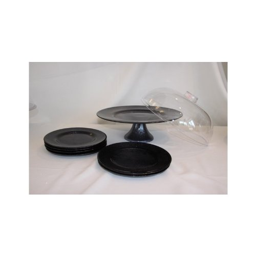 Torten Set mit sechs Teller black Tortenplatte Platte Handarbeit