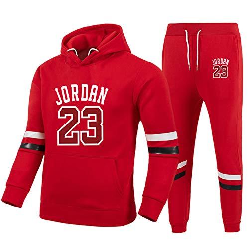 Conjunto de chándales para hombre de baloncesto sudaderas con capucha pantalones 23 # Jordǎn ropa deportiva de baloncesto jerseys casual deportivo correr suéter sudadera con capucha pantalones rojo-M