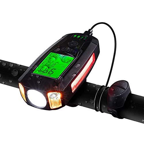 Luce per Bici con Tachimetro USB Ricaricabile Impermeabile 5 Modalità Di Illuminazione con Campanello per Bici Ad Alto Volume per Tutti Gli Spostamenti in Bicicletta E Il Ciclismo Su Strada