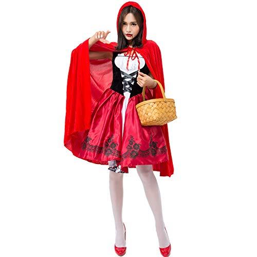 LGZY Disfraces Adulto Disfraz Caperucita Roja Mujer Juego De Roles Caperucita Roja Ropa Vestido + Capa Disfraz De Cosplay Ropa De Fiesta Decoración Creativa Celebración De Vacaciones,S
