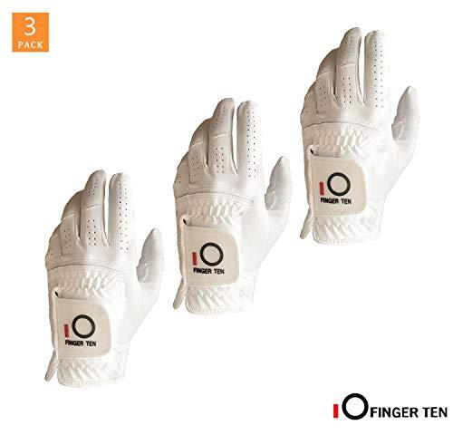 FINGER TEN Golfhandschuh Herren Linke Hand 3 oder 2 Stück Schwarz Weiß Mikrofaser Allwetter Regentag Passen Rechtshänder Golfer Golf Handschuh Links Griff Weicher Komfort Haltbarkeit S M M/L L XL