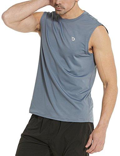 BALEAF Men's Performance Sleeveless Tech Muscle Shirts Workout Gym Running Tank Top Gray Size XL