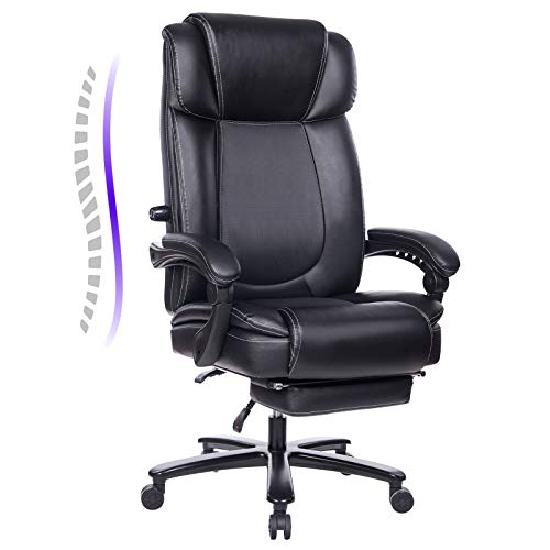 REFICCER Big and Tall Reclining Leather Office Chair, Metal Base High Back Executive Computer Desk Chair with Adjustable Lumbar Support, Angle Recline Locking System and Footrest, Black