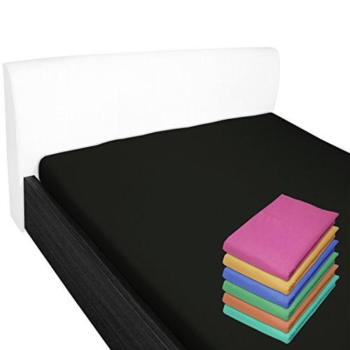 Nurtextil24 Bettlaken 100% Baumwolle 28 Farben und 4 Größen ohne Gummizug Schwarz 150 x 240 cm