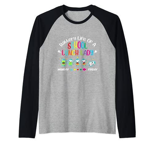 Batería Vida De Una Escuela Almuerzo Señora Cafetería Trabajador Maestro Camiseta Manga Raglan