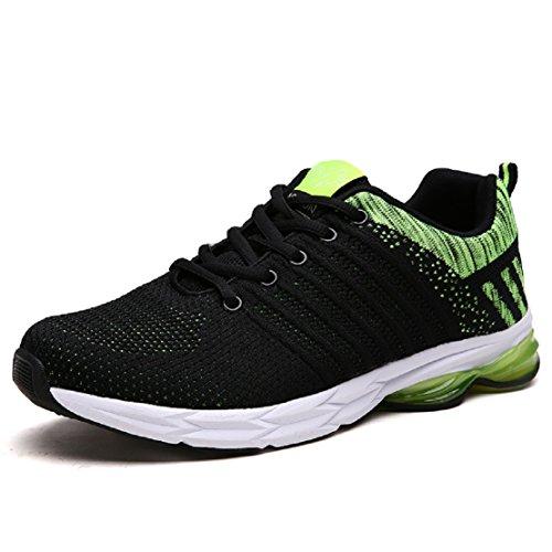 ZapatillasRunningpara Hombre Aire Libre y Deporte Transpirables Casual Zapatos Gimnasio Correr Sneakers Verde 44