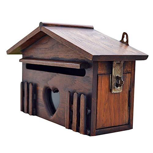 GJX-Mailbox Holzbriefkasten Villa European Creative Außen Rustic Box Letter Box Briefkasten der Wand befestigter