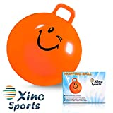 Xino Sports Hopping Ball for Kids - Teens and Adults, Offers Hours of Fun for Boys & Girls, Hopper Ball, Jumping Ball with Handle, 22 Inch Diameter (Orange)
