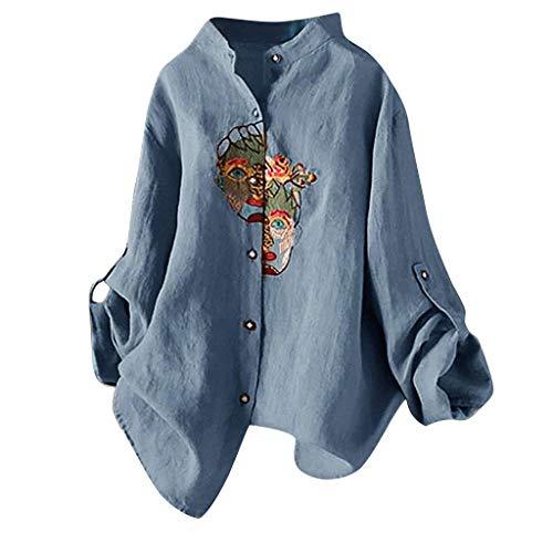 Reooly Camiseta de algodón y Lino para Mujer de Gran tamaño con Bordado Vintage Top de Manga Larga Informal