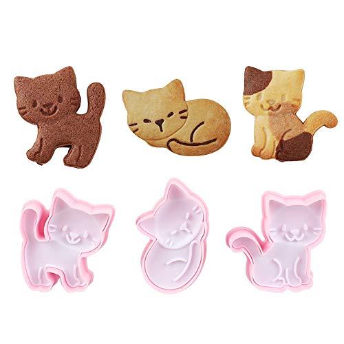 Cat Shape Animal Plunger Cookie Cutters Set, Food Grade Fondant Stamper Set