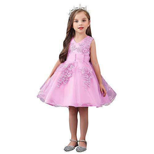 Xmiral Kinder Mädchen Einfarbig Kleid Stickerei Ärmellos V-Ausschnitt Prinzessin Hochzeitskleid Elegant A-Linie Hohe Taille Tüll Tutu Kleid(Rosa,2-3 Jahre)