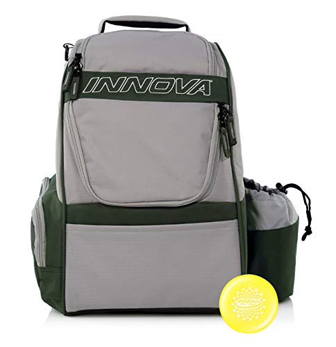 Innova Adventure Pack Backpack Disc Golf Bag – Holds 25 Discs – Lightweight – Includes Innova Limited Edition Stars Mini Marker (Silver/Grey)