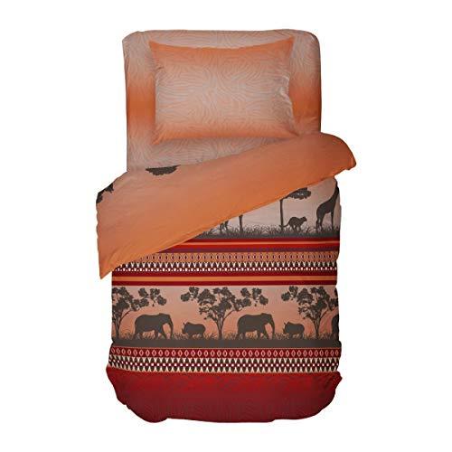 SoulBedroom Afrika 100% Baumwolle mit versteckten Reißverschluss (Bettbezug 135x200 cm & Kissenbezug 80x80 cm)
