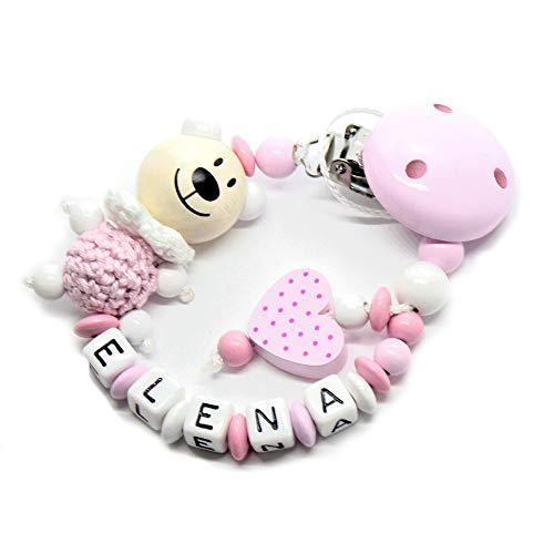 Schnullerkette mit Namen für Junge & Mädchen | VIELE INDIVIDUELLE MODELLE | Personalisierte Nuckelkette mit Wunschnamen (hellrosa, herz, bär)