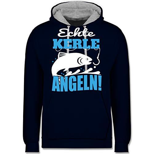 Shirtracer Hobby - Echte Kerle Angeln Fisch - M - Navy Blau/Grau meliert - Statement - JH003 - Hoodie zweifarbig und Kapuzenpullover für Herren und Damen
