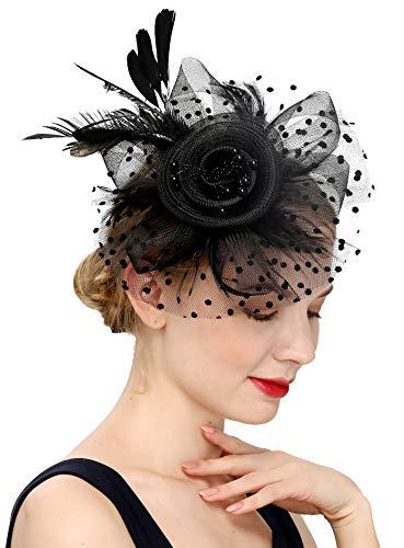 Fascinators Hat for Women Tea Party Headband Kentucky Derby Wedding Flower Cocktail Mesh Feathers Hair Clip (1-a-Black)