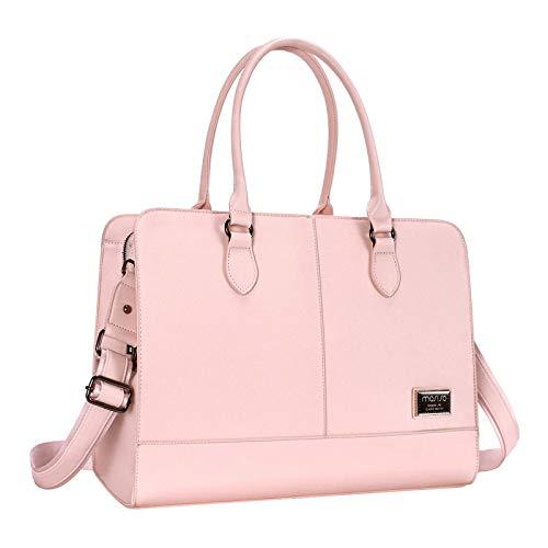 MOSISO - Bolsa de mano para ordenador portátil (hasta 15,6 pulgadas), 3 capas, cuarzo rosa