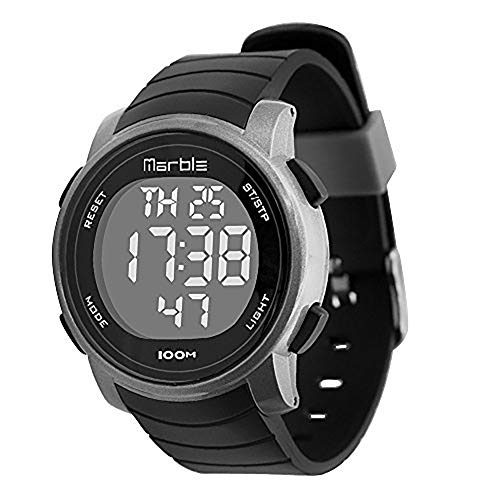 Marble Women's Swimming Waterproof Outdoor Sports LED Backlight Digital Stopwatch Wrist Stop Chronograph Watches