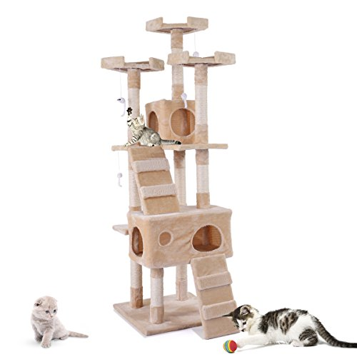 JAXPETY 67 Inches Multi-Level Cat Tree Tower Stand, Kitten Play House Furniture Kitty Activity...
