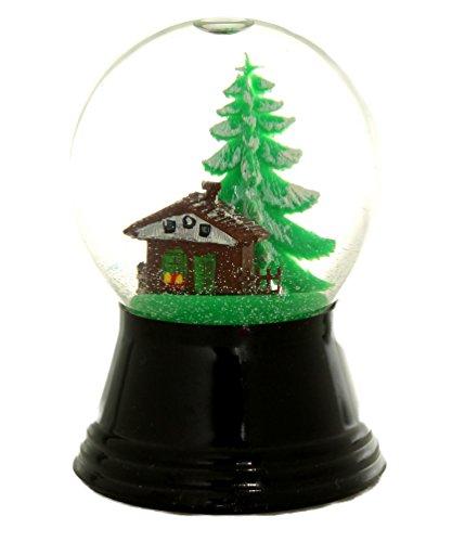 Véritable boule à neige de Vienne de 4,5 cm en verre véritable / neige très réaliste / Motif : cabane de montagne.