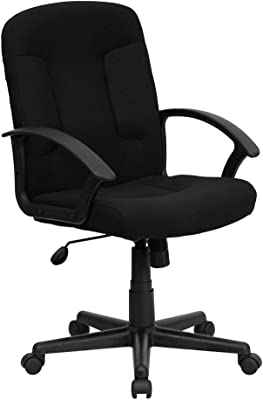Flash Furniture Mid-Back Black Fabric Executive Swivel Office Chair with Nylon Arms