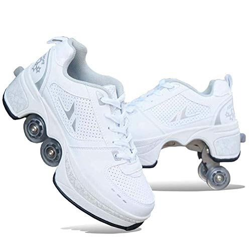 K.L.T Kick Rollers Shoes Double-Row Deform Wheel Deformation Automatic Walking Shoes Invisible Roller Skate 2 in 1 Removable Pulley Skates Skating,C+White,8 Women/7 Men