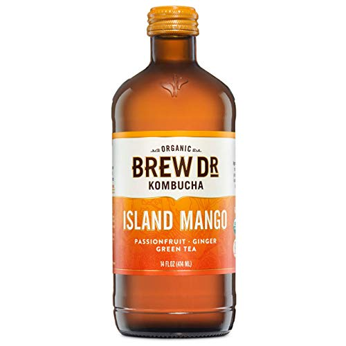 Brew Dr. Kombucha, Organic, Raw & Probiotic - Island Mango - Green Tea with Mango, Passionfruit and Ginger - 14 Fl Oz Bottle