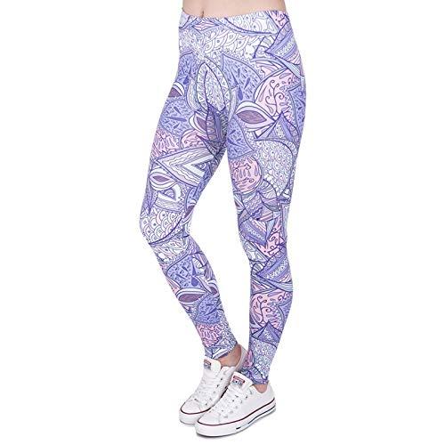 YJKGPZQLZ Yoga Hosen Leggings Printed Aztec Jungle Lila Print Damen Leggings Fitness Atmungsaktiv Schweiß Schnell trocknend Leggins High...