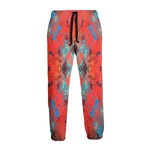 Inaayayi Southwestern Decor - Pantalones deportivos con diseño de azulejos cuadrados, color naranja y turquesa