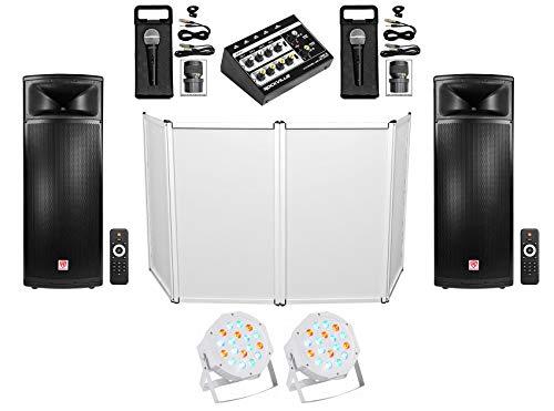 Buy Bargain DJ Package 2) Rockville Dual 15 Powered 1500w Speakers+Mixer+Mics+Facade+Lights