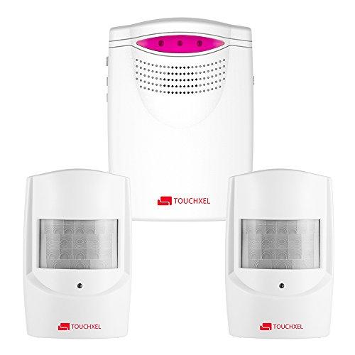 Kit de Seguridad Alarma, TOUCHXEL Sistema de Alarma Antirrobo Inalmbrico Hogar 1 Receptor y 2 Detectores de Sensor de Movimiento PIR Resistentes Intemperie para Patio / Granero / Garaje