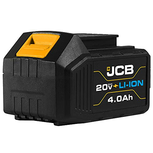 Jcb Tools - 20V Lithium-Ion Battery 4.0Ah With Charge Remaining Indicator - For JCB 20V Power Tools - Drill, Jigsaw, Recip Saw, Circular Saw, Multi Tool, Miter Saw, Angle Grinder, LED Work Light