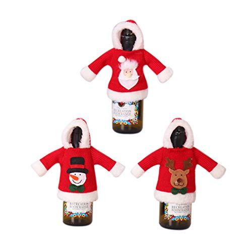 Amosfun 3 Stücke Weihnachten Weinflasche Abdeckung Weihnachtsmann Schneemann und Rentier Flaschen Kleidung Flaschenüberzug Flaschenanzug Flaschendeko Tischdeko