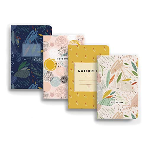 HAPPY CRAFT A6 Mini Classic Notebook Journals, 4 Pack, 10.5 X 14.85 (cm) Ruled Abstract-print Notebook Journals for Writing 100...