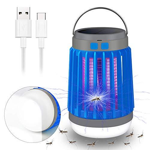 Vivibel - Lámpara eléctrica 3 en 1 para mosquitos y mosquitos, lámpara para camping, lámpara de insectos, lámpara solar y USB, carga eléctrica, para interior y exterior, color azul