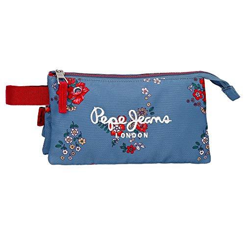 Pepe Jeans Pam - Estuche con 3 Compartimentos, Multicolor, 22 cm