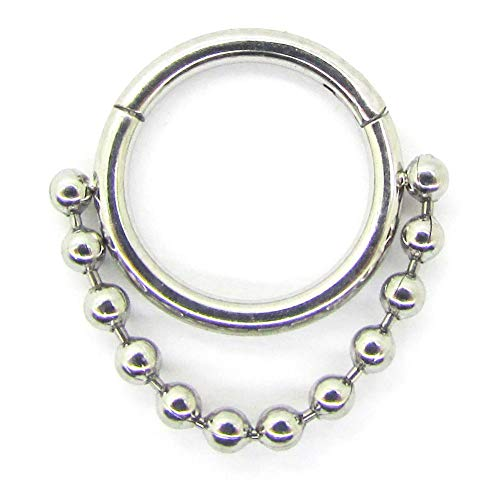 NewkeepsR 16G 8mm(5/16 inch) 316L Surgical Steel Hanging Beaded Chain Septum Hinged Clicker Segment Rings Helix Cartilage Tragus Lobe Rook Hoop