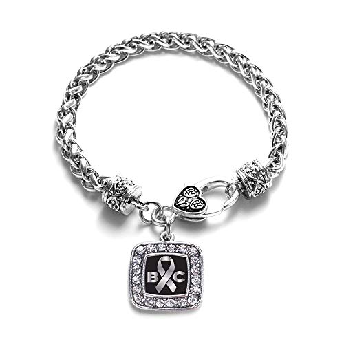 Inspired Silver - Brain Cancer Awareness and Support Braided Bracelet for Women - Silver Square Charm Bracelet with Cubic Zirconia Jewelry