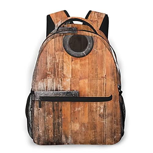 EUlemon Mochila para computadora portátil de viaje,Fotografía rústica,de madera de pino anudada antigua con diseño de naturaleza de madera de ventana de control,mochila duradera