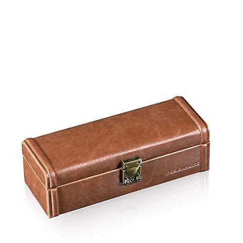 DESIGNHÜTTE® Uhrenbox/Uhrenaufbewahrung Camel 4 Braun für 4 Armbanduhren