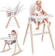 Tiny Dreny Wooden High Chair for Babies and Toddlers, 4-in-1 Grow with Family Convertible Baby High Chair, Toddler and Booster Seat, Rocking Chair, Reclining Seat, Removable Cushion and Double Tray